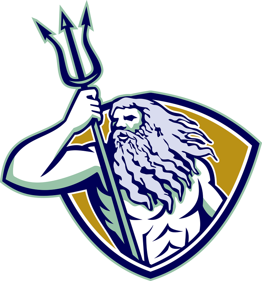 Poseidon with trident on a shield.