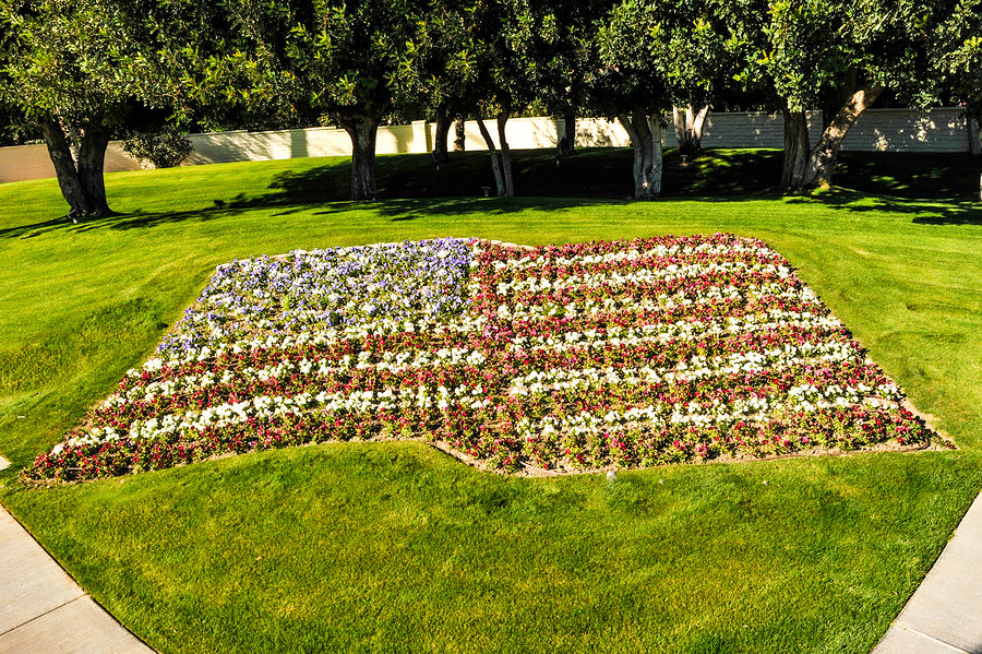 flowerbed in the shape of the American Flag