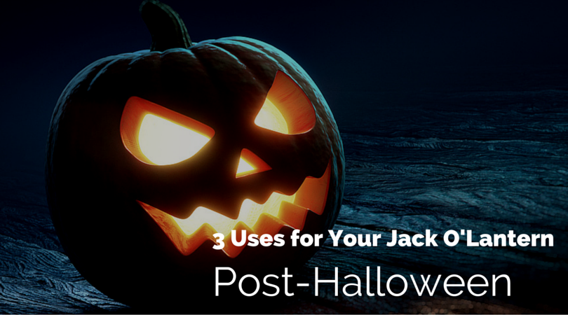 jack-o-lantern aglow with text three uses for your jack O'Lantern post Halloween.